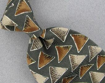 Vintage Designer Necktie Henry Grethel Gray Brown Geometric Triangle Silk Men's Neck Tie #Z1-36 Excellent