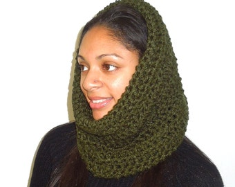 Neckwarmer, Cowl, Crochet, Women, Teen, Men, Hooded Scarf, Hunter Green, Circle Scarf