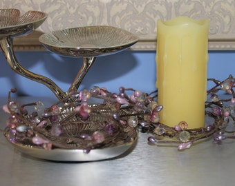 Set of Small Candle Rings in Shades of Lavender