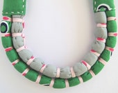 Turtle Green, Grey & Baby Pink Two Bound Slip Necklace (Baby Friendly)