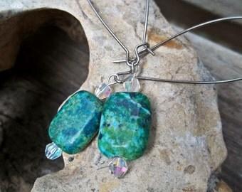 Green Jasper Drop Earrings with Swarovski Crystals - Christmas Gifts for Women Clear Crystal Blue Green Veined Jasper Dangle Earrings Rustic