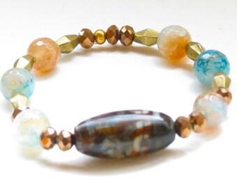 Aqua blue and sunset orange agate with Bali bead stretch bracelet - Birthday, anniversary, Graduation - fast shipping