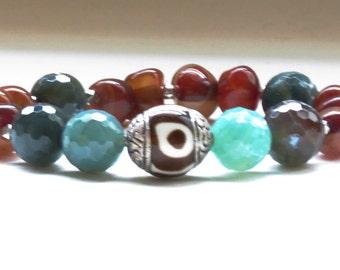 Bali bead, blue-green Agate, and Amber stretch bracelet - earth tones - Birthday, anniversary,  Graduation