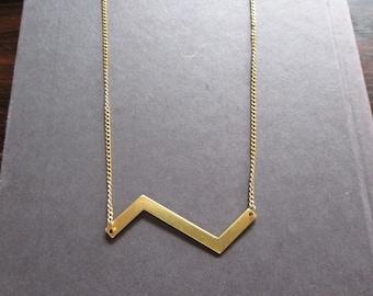 40% OFF SALE! - Raw Brass Z Shaped Zigzag Vintage Brass Chain Necklace