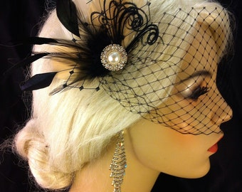 Feather Hair Fascinator, Wedding Hair Clip, Bridal, Prom, Wedding Hairpiece, Great Gatsby, Champagne and Black, Veil Set