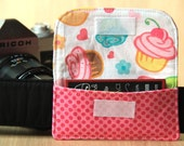 Business Card Pocket for Camera Strap - Pink Cupcakes - Ready to Ship