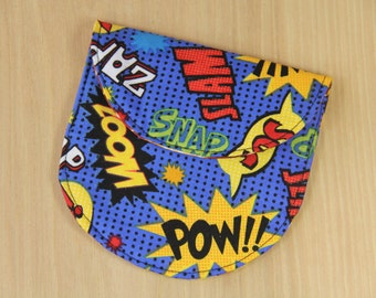 Camera Lens Cap Pocket - holds up to 84mm - Superhero Comic Book Words - Ready to Ship