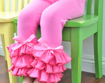 Bubblegum Pink Leggings with Large Triple Ruffles / Baby Girls Leggings---0M-18M