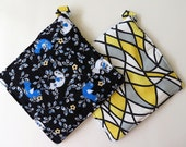 Pair of Reversible Potholders: Twitter Blue Birdies and Modern Yellow and Black