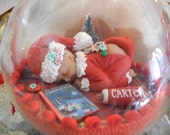 Baby's First Christmas Ornament- Waiting for Santa-in 4 inch Ball - Keepsake-Miniature