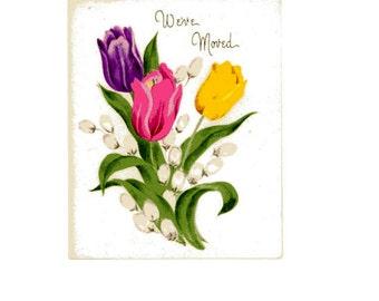 Vintage Original unused Greeting card We've Moved  includes envelope