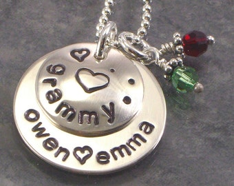 Personalized Grammy Necklace with Grand Kids Names - Hand stamped with Heart in Center - Personalized Jewelry for Grandma For Mother's Day