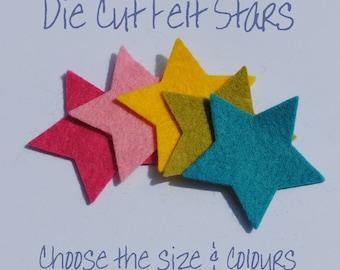 DIECUT FELT STARS - 50 Stars - Choose From 68 Colours and 5 Sizes - Die Cut Felt Shapes