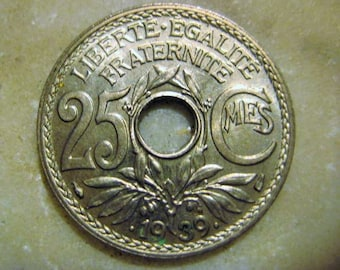 1939 France, 25 Centime Coin, 1 Piece
