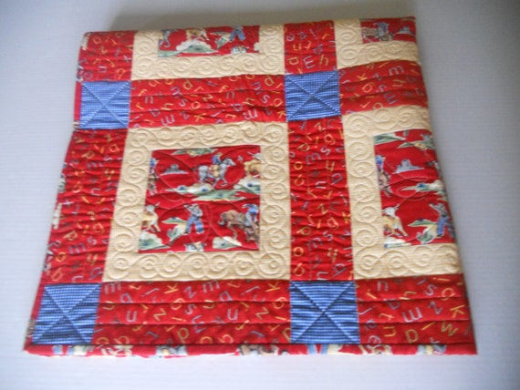 Baby Boy Quilt, Cowboy Quilt, Childs Blanket, Western, ABC's, Primary Color Quilt, Red Blue Yellow
