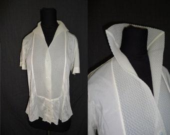 Sheer Ivory Nylon Vintage 1950's Rockabilly Womens Blouse Shirt M