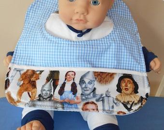 Baby Bib - Wizard of Oz - Pocket - Dorothy - Tin Man - Scarecrow - Cowardly Lion