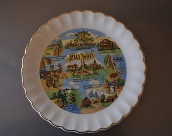 Vintage Souvenir Plate - Illinois - Check out all of our vintage souvenir plates
