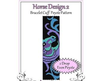 Bead Pattern Peyote(Bracelet Cuff)-Horse Design 2