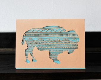 Bison - Laser Cut Card - Paper Cut Stationary