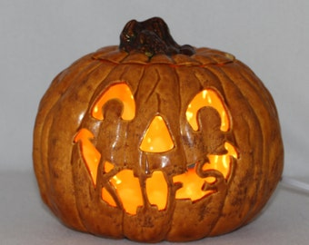 Ceramic Pumpkin w/ light (Handmade) Hand Carved (Personalized) Jack 0 Lantern