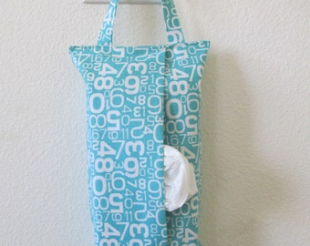 Hanging Tissue Box Cover For Skinny Kleenex/Number On Turquoise