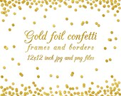 gold foil confetti overlay border frame digital paper 12x12 inch background wedding invitation scrapbooking png jpg christmas clip art pack