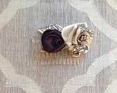 Ribbon Rose Hair Comb Mini - Purple Ivory Black Pattern