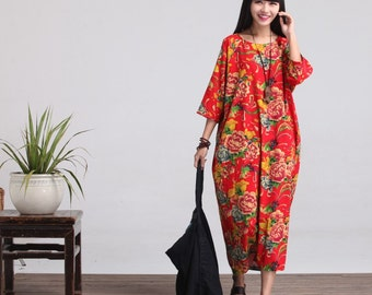 Loose Fitting Long Maxi Dress, Gown, Women Dress, Maternity Clothing LYQ011