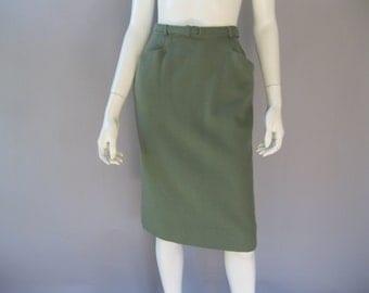 Pencil Skirt - Vintage 1950s Wool Skirt Belt - Straight Skirt