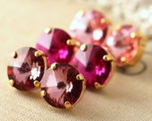 Pink Fuchsia earrings set Blush pink earrings Light rose earrings Pink earrings set Swarovski earrings Pink Blush Fuchsia earrings Gift set