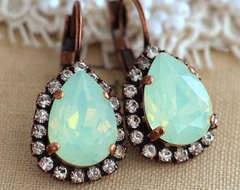 Mint Earrings,Mint drop earrings,Swarovski Mint Drop Earrings,Swarovski teardrop earrings,Gift for her,Christmas gift,Bridal drop Earrings