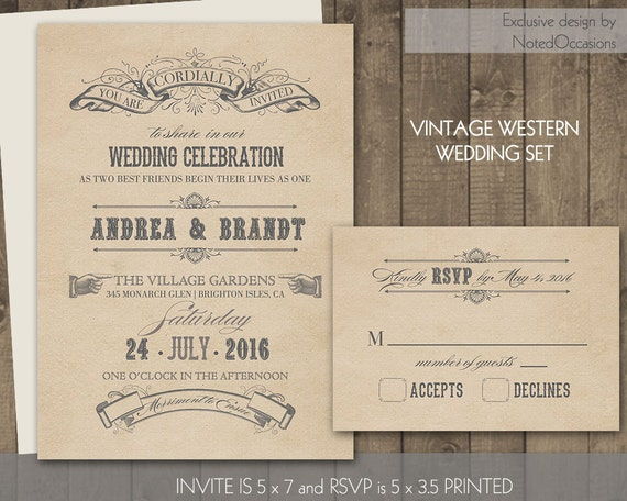 Rustic Western Wedding Invitations: Rustic Western Wedding Invitation Set Vintage By
