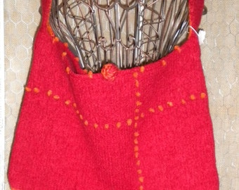 "Large Tote Bag - ""Tomato Red"" with Orange accents - knitted, felted"