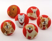 Dog PushPin /  Thumbtacks / Magnet  Covered Fabric Button / Push Pin  / Lab Terrier / Sewing Button / Bulldog French / Animal / Red  106