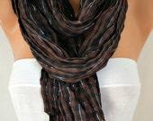 Brown Black & Silver Plaid Scarf Fringe Scarf Winter Cotton Tartan Scarf Shawl Scarf Cowl Scarf Gift Ideas Women Fashion Accessories