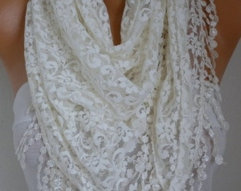 Creamy White Lace Scarf, Wedding Shawl Scarf Women Scarves Cowl Scarf Bridesmaid Gift Bridal Accessories Women Fashion Accessories