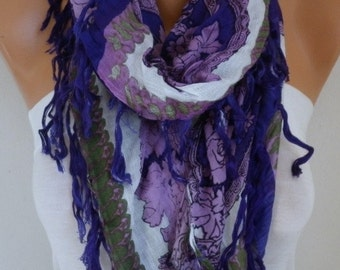 PURPLE Tassel Scarf,SO Soft,Birthday Gift,Square Shawl,Cowl Scarf Cotton Gift For Her Mom Women Fashion Accessories