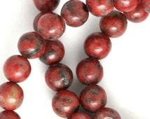 Red Sesame Jasper Beads - 6mm Round - Full Strand