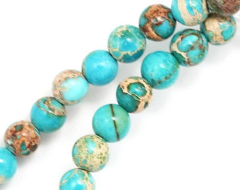 Sea Blue Magnesite Beads - 6mm Round