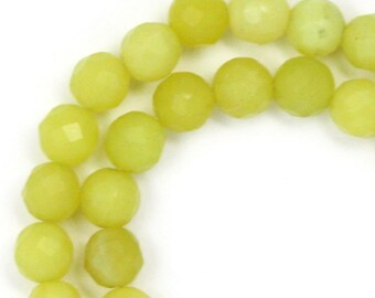 Olive Serpentine Beads - aka New Jade - 6mm Faceted Round
