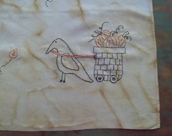 Bountiful Harvest Primitive Simple stitchery on Vintage linen