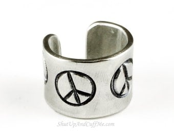 Peace Sign Ear Cuff - Aluminum Stamped Ear Cuff
