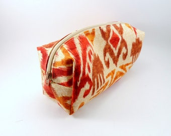 Cream and Burnt Orange Ikat Makeup Bag, Gadget Case, Under 15, Pencil Case, Medium, Zippered, Cosmetic Case, For Her