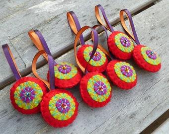 Colorful felt Christmas ornaments - set of 8