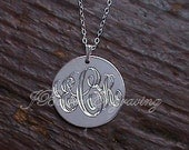 Monogram Hand Engraved - One Inch - Personalized Initials Pendant on 18 inch chain