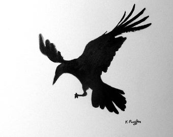 Rook original charcoal sketch, crow series