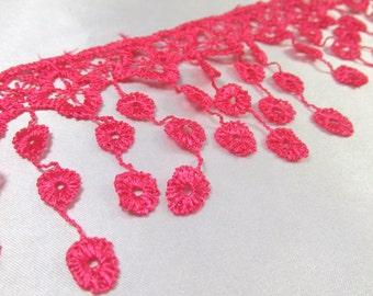 Hot Pink Venice Lace Bridal Victorian 3.5 inch Fringe Trim