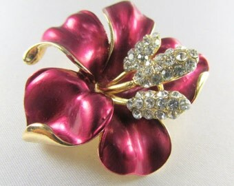 Burgundy Lily Brooch with Quality Crystals for bridal bouquet or jewelry decoration