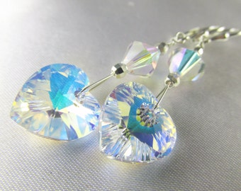 Crystal AB Swarovski Heart Earrings on all sterling silver - matching necklace available